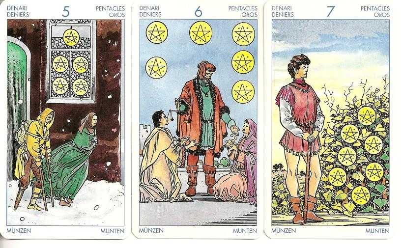 Universal Tarot 5, 6, and 7 of Pentacles