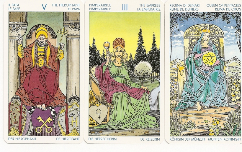 Universal Tarot Hierophant, Empress, and Queen of Pentacles