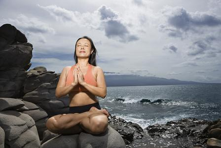 Woman in lotus pose
