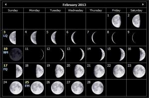 moon phases feb 2013