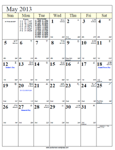 Moon Phases and Free Lunar Calendar for May 2013 | Auntie Moon