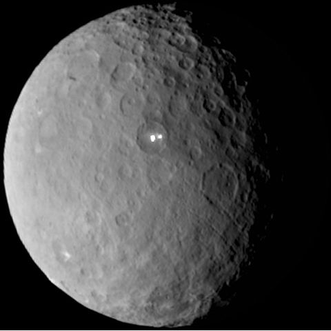 Ceres with her two mysterious bright spots.