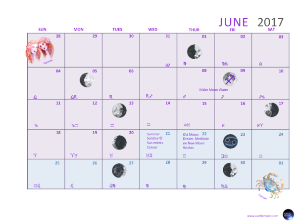 Free Download June 2017 Lunar Calendar Auntie Moon