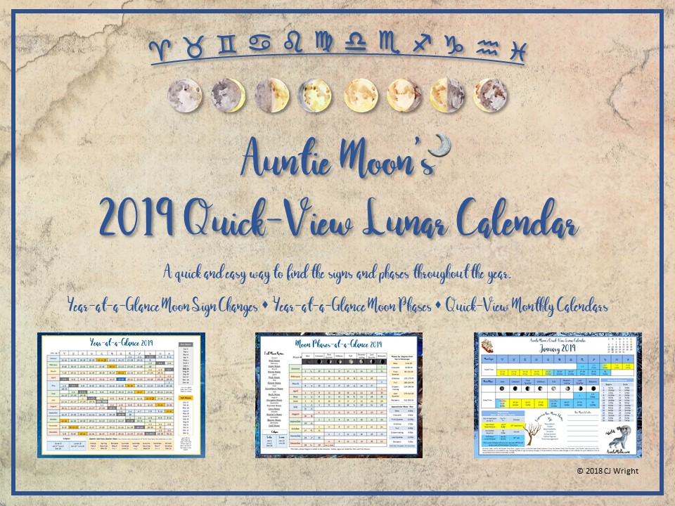 Auntie Moon's 2019 Quick-View Calendar