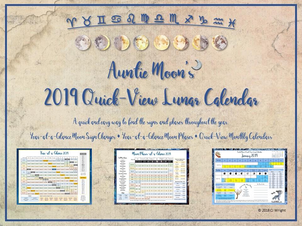 Auntie Moon's 2019 Quick-View Calendar